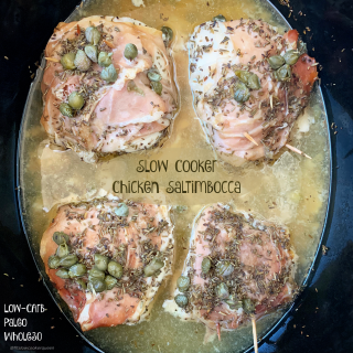 This chicken saltimbocca recipe is not only easy but full of flavor. Made in the slow cooker with a few simple ingredients, this recipe is low-carb, paleo, and whole30.