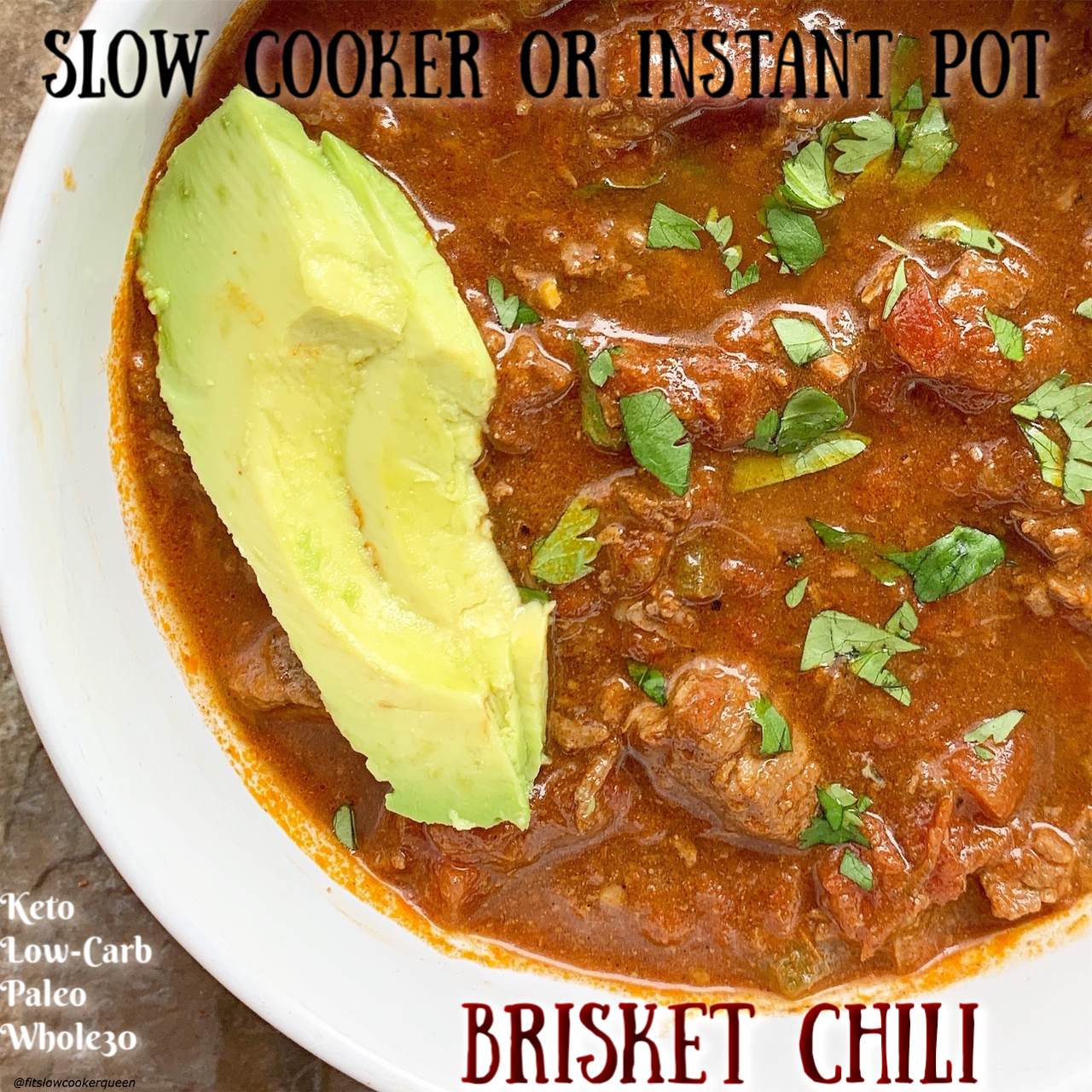 Bean-free but full of flavor. This keto, low-carb, paleo, and whole30 brisket chili can be served any day of the week. Make this healthy chili in the slow cooker or Instant Pot (6)