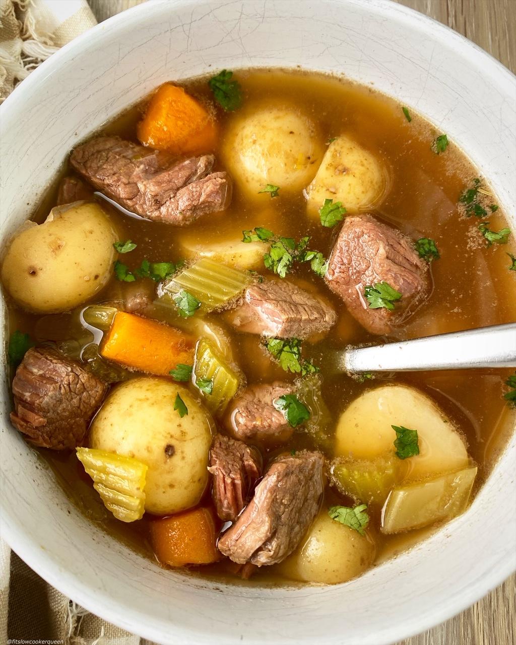 pot roast soup in a bowl