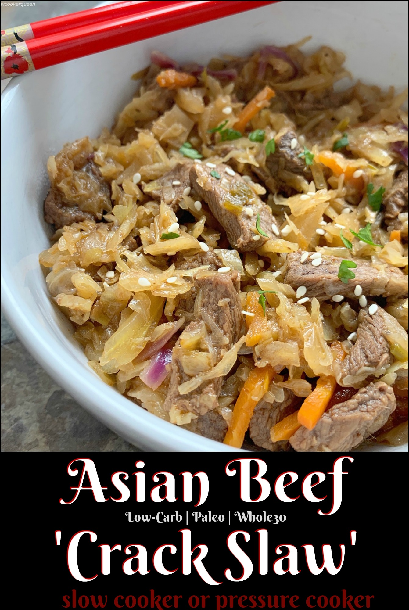 A homemade Asian-inspired sauce cooks with beef and coleslaw in this this low-carb, paleo, and whole30 recipe. Make this easy & healthy meal in your Instant Pot or slow cooker.