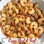 Cajun spices cook with a combination of shrimp, steak, and chicken in this low-carb, paleo, and whole30 recipe. Make this quick and healthy Creole-inspired meal in less than 30 minutes.