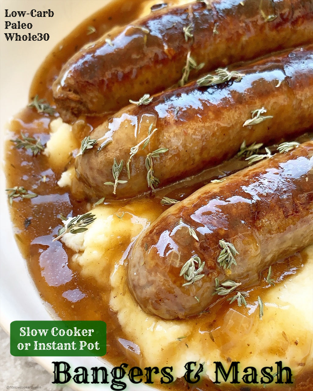 Bangers and mash also known as sausages and mashed potatoes is traditionally a hearty and comforting dish. This lighter, cleaned up version uses a simple homemade gravy and mashed cauliflower to make it low-carb, paleo, and whole30 compliant.