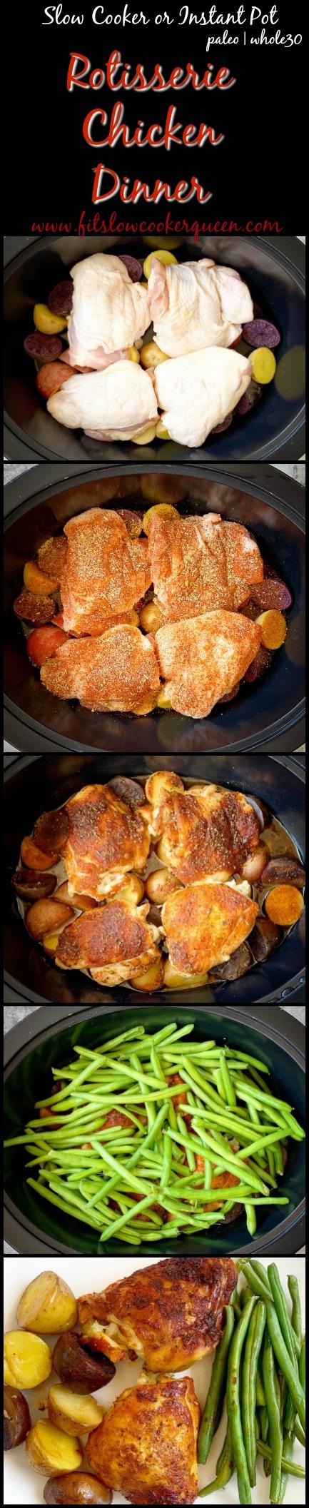 pinterest pin for slow cooker or instant pot rotisserie chicken dinner