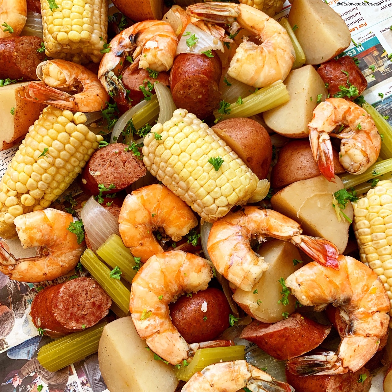slow cooker or instant pot low country boil poured out on newspaper