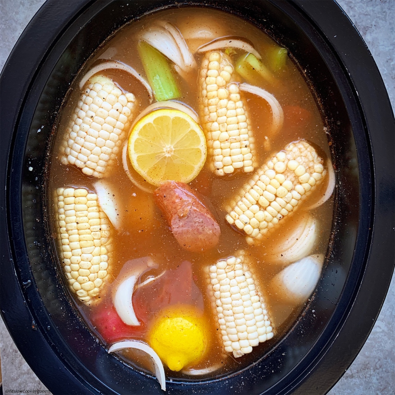 add water to slow cooker for low country boil