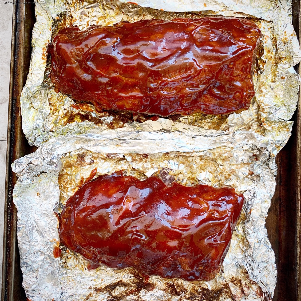 cooked ribs in foil with bbq sauce for {VIDEO} Slow Cooker Instant Pot Ribs (Low-Carb, Paleo, Whole30)