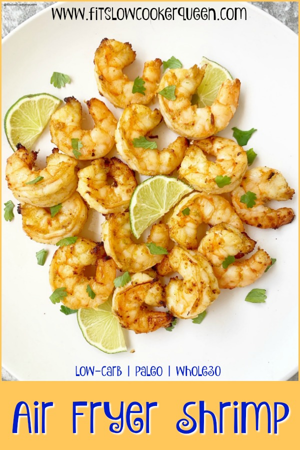 pinterest pin for Air Fryer Shrimp (Low-Carb, Paleo, Whole30)