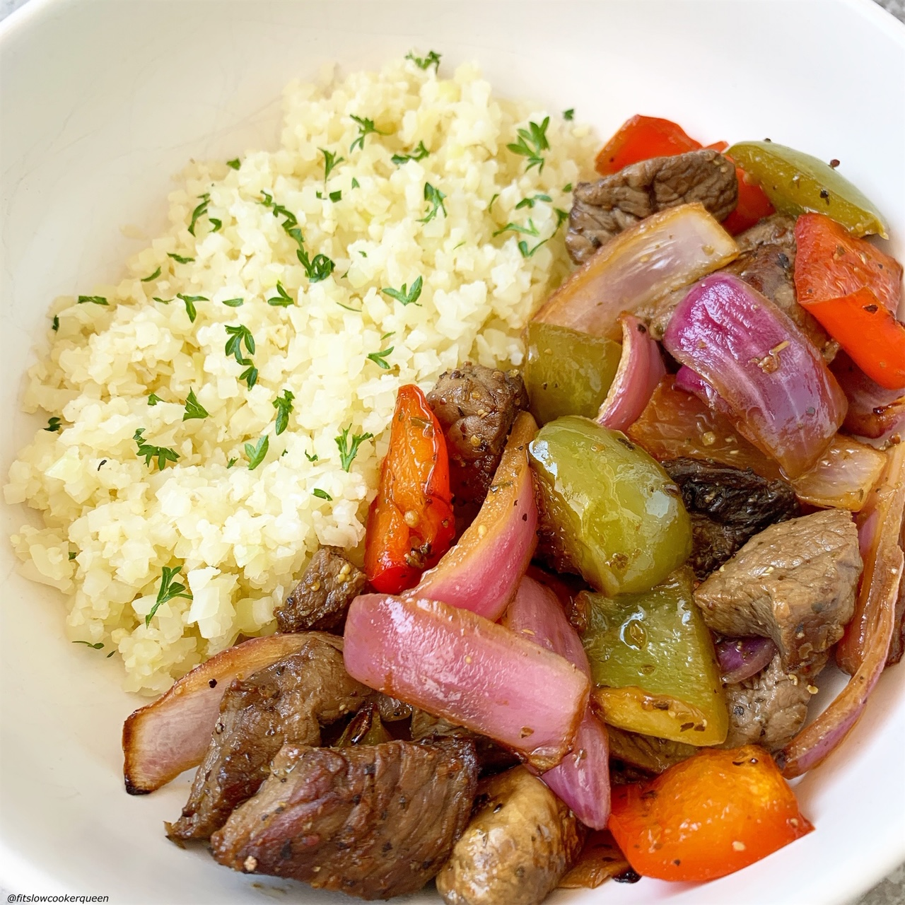 plated Sheet Pan Deconstructed Beef Kebabs (Low-Carb, Paleo, Whole30) served with cauliflower rice