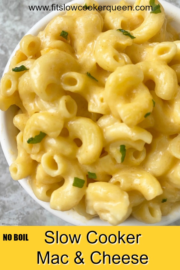 pinterest pin for Slow Cooker NO BOIL Mac & Cheese (Uncooked Macaroni)