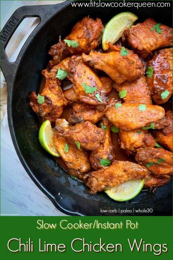 pinterest pin for {VIDEO} Slow Cooker_Instant Pot Chili Lime Chicken Wings (Low-Carb, Paleo, Whole30)
