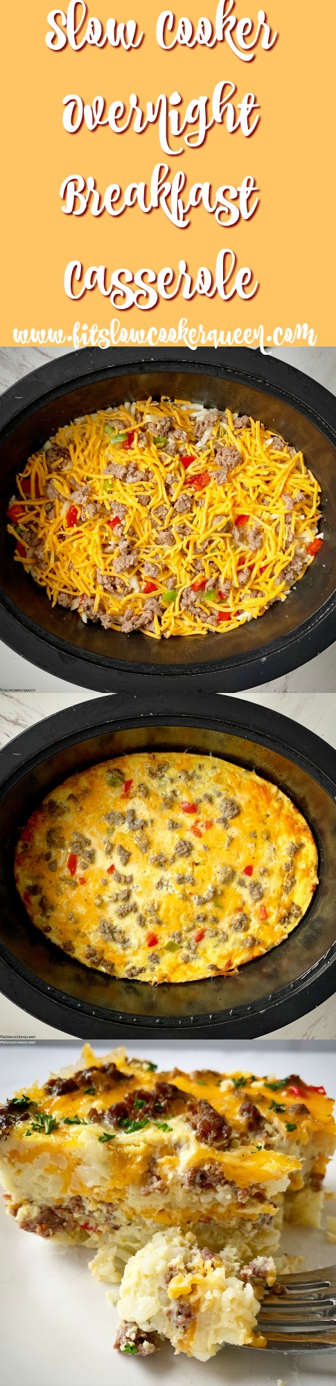 another pinterest pin for {VIDEO} Slow Cooker Overnight Breakfast Casserole