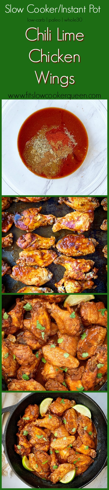 another pinterest pin for {VIDEO} Slow Cooker_Instant Pot Chili Lime Chicken Wings (Low-Carb, Paleo, Whole30)