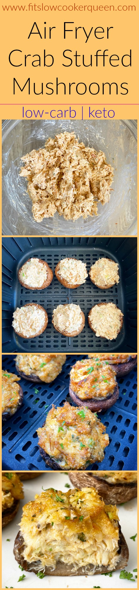 another pinterest pin for Air Fryer Crab Stuffed Mushrooms (Low-Carb, Keto)
