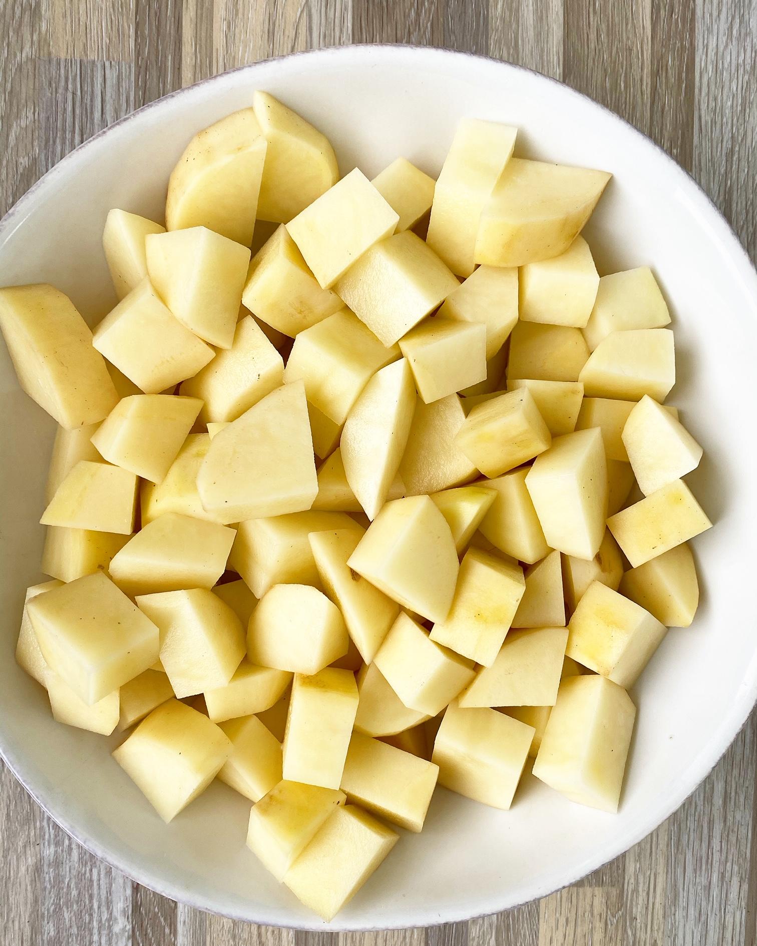 peeled & chopped russet potatoes