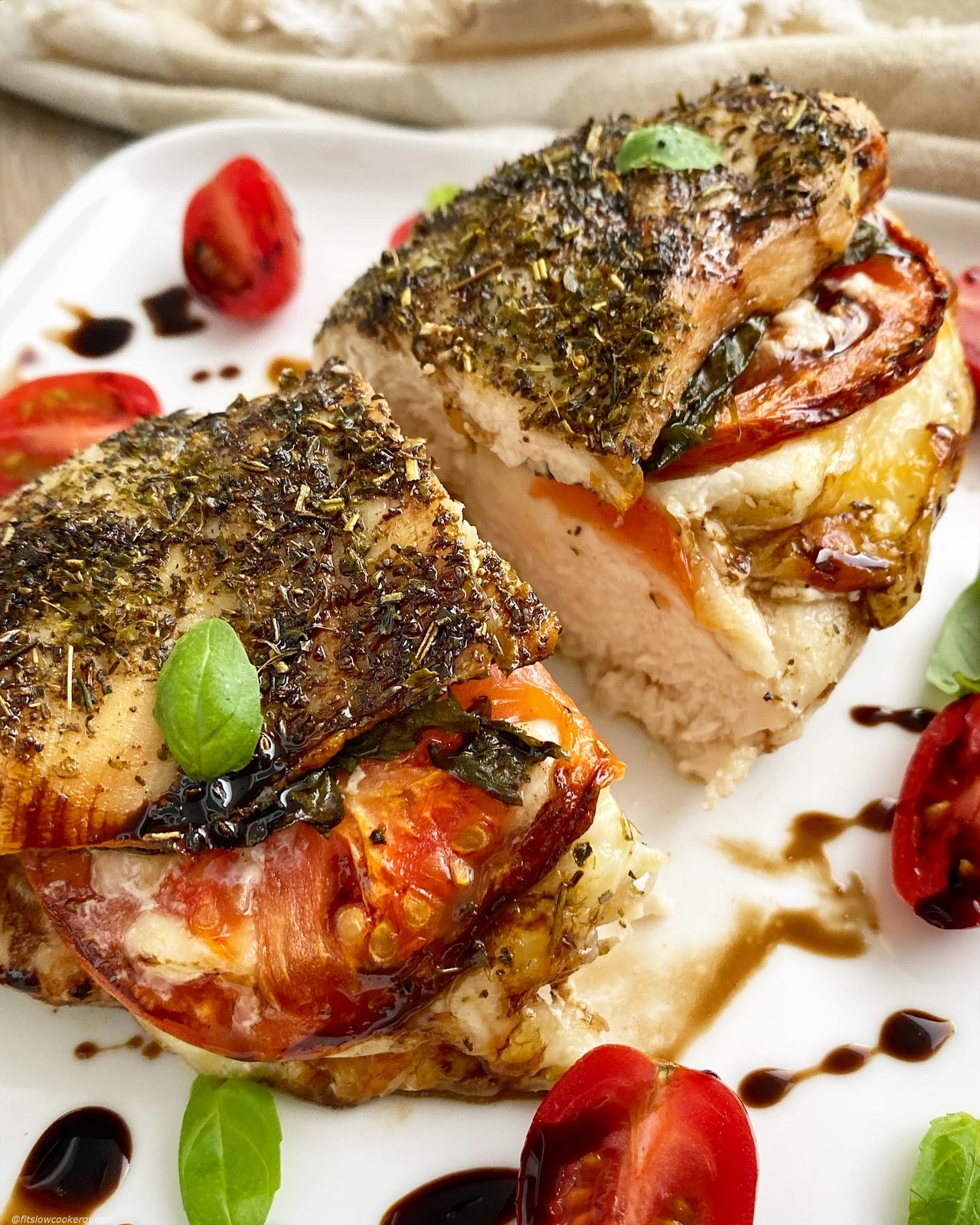 Air Fryer Caprese Stuffed Chicken (Low-Carb, Keto)