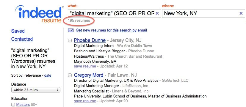 indeed resume search filtering