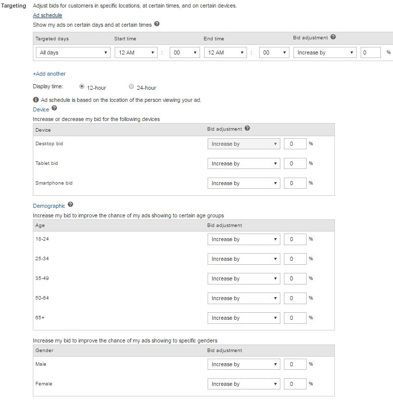 Opções de segmentação de anúncios do Bing