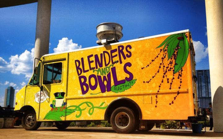 Concepto de comida orgánica / salud para camión de comida