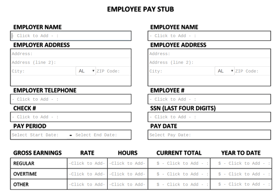 Free Pay Stub Template Tips What To Include