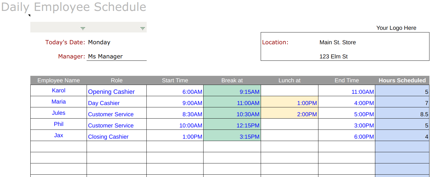 Free Employee Schedule Templates Instructions