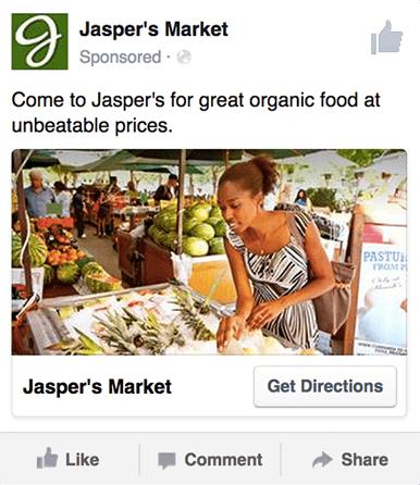 un esempio di annuncio di consapevolezza del marchio locale su Facebook