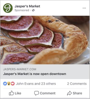 un esempio di annuncio di copertura su Facebook