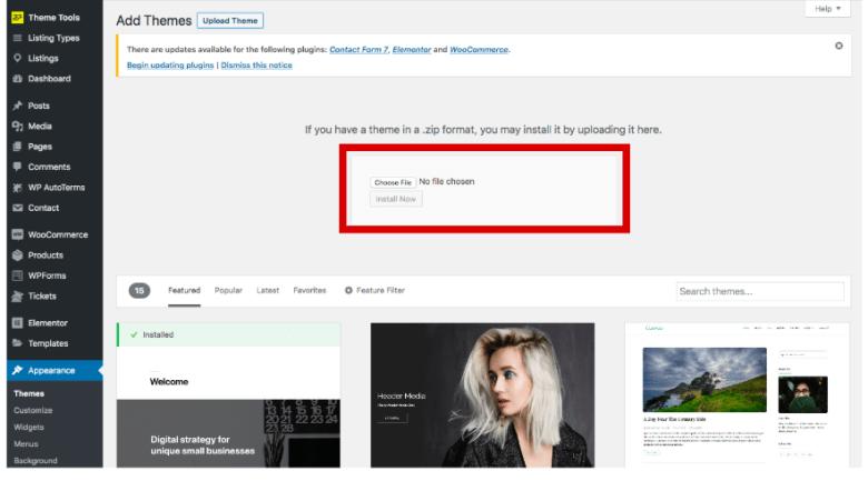 Carica un tema premium su WordPress