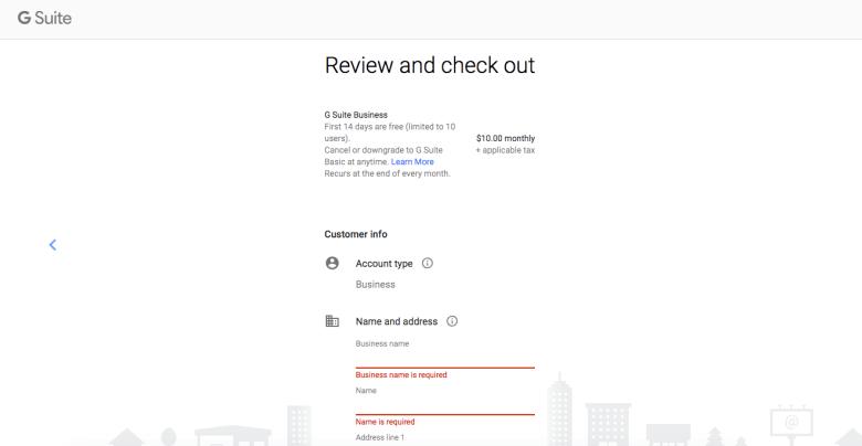 Completa Gmail per la registrazione aziendale