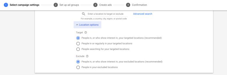 Impostazioni delle opzioni di posizione in Google Ads
