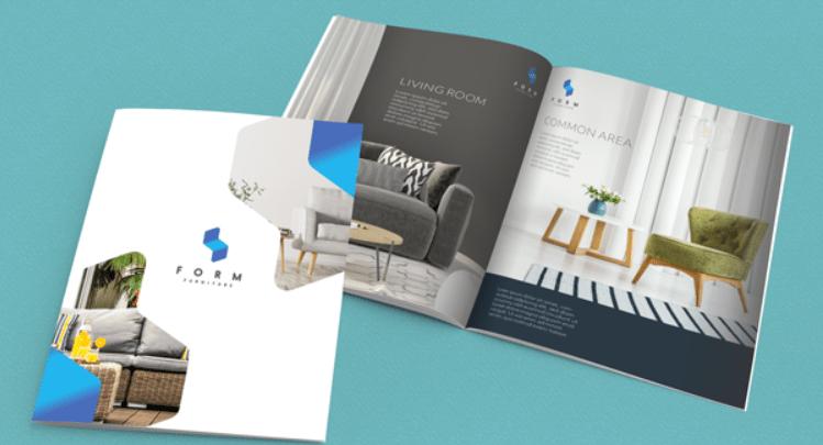 Esempio di materiale di marketing per opuscoli e cataloghi