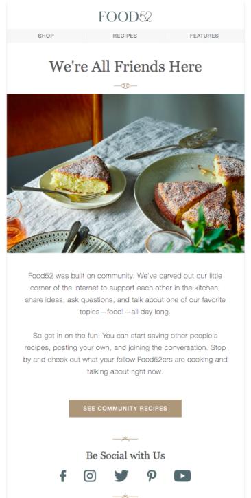 Food52 Esempio di email