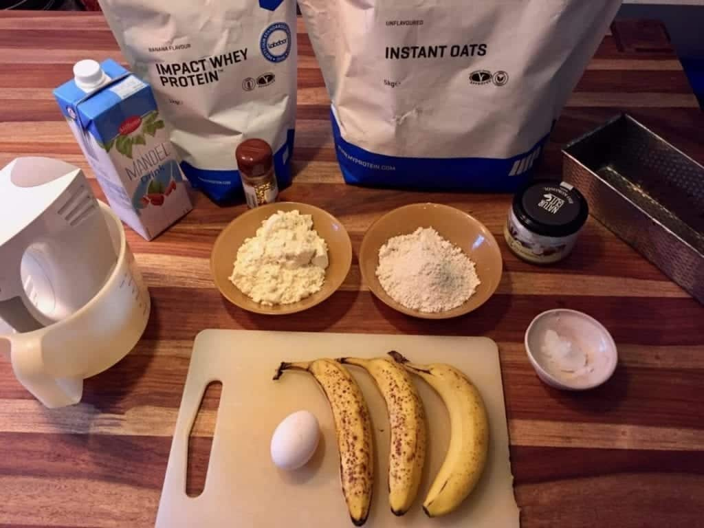 Ingredients for a protein banana bread