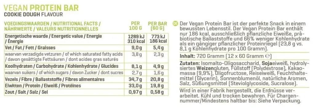 Body & Fit Vegan Protein Bar Nutritional Testing