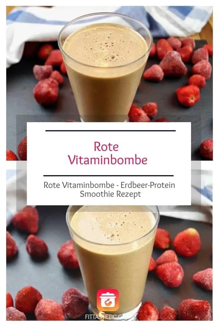 Mit diesem super gesunden Erdbeer-Protein Smoothie Rezept zauberst du dir deine eigene rote Vitaminbombe. So bleibst du garantiert gesund!  #gesund #smoothie #fitnessrezepte #gesunderezepte #vitaminbombe #smoothierezept #gesundersmoothie