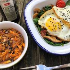 Asian Eggs with Carrot, Ginger and Apple Slaw