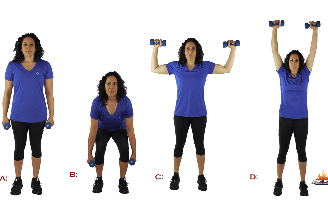 squat to shoulder press