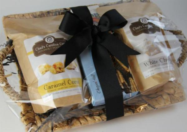 Carolina Snack Basket filled with NC goodies from a NC owned small business. Gifts.