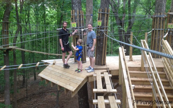 The zip line is fun ride for kids. It's a little scary at first, but the kids love flying through the air.