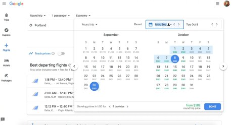 Using Google flights to find cheap flights