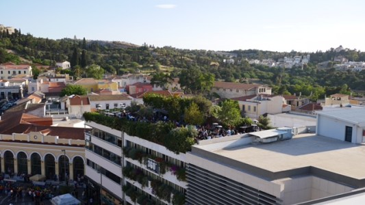 A for Athens roof top bar view fittwotravel