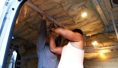 DIY van build ceiling installation2