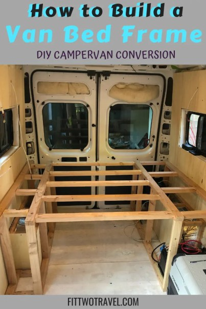 Step by step guide on how to build a van conversion bed frame. If you have in the middle of a DIY campervan conversion, here is how to build a bed frame #campervan #vanconversion #vanlife