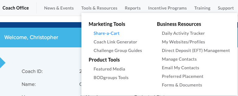 using share-a-cart from homepage