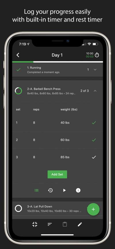 Log your progress easily with built-in timer and rest timer