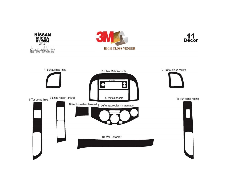 Nissan Micra 01 03 12 09 3m 3d Interior Dashboard Trim Kit