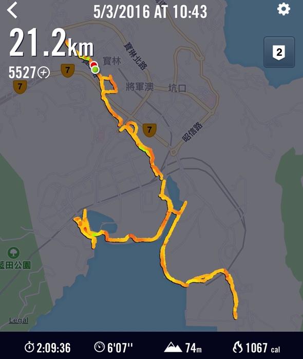 第一次練習衝破20km!