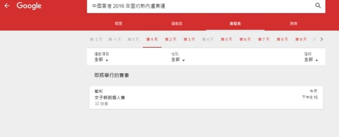 會列出每一日香港隊嘅比賽,不過第一日就少咗張敬樂嘅公路單車賽。
