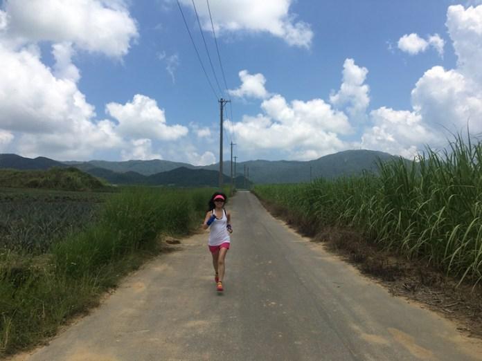 跑到一大片的菠蘿田旁,此時宜什麼也不想,想想完賽後的沖繩生啤酒