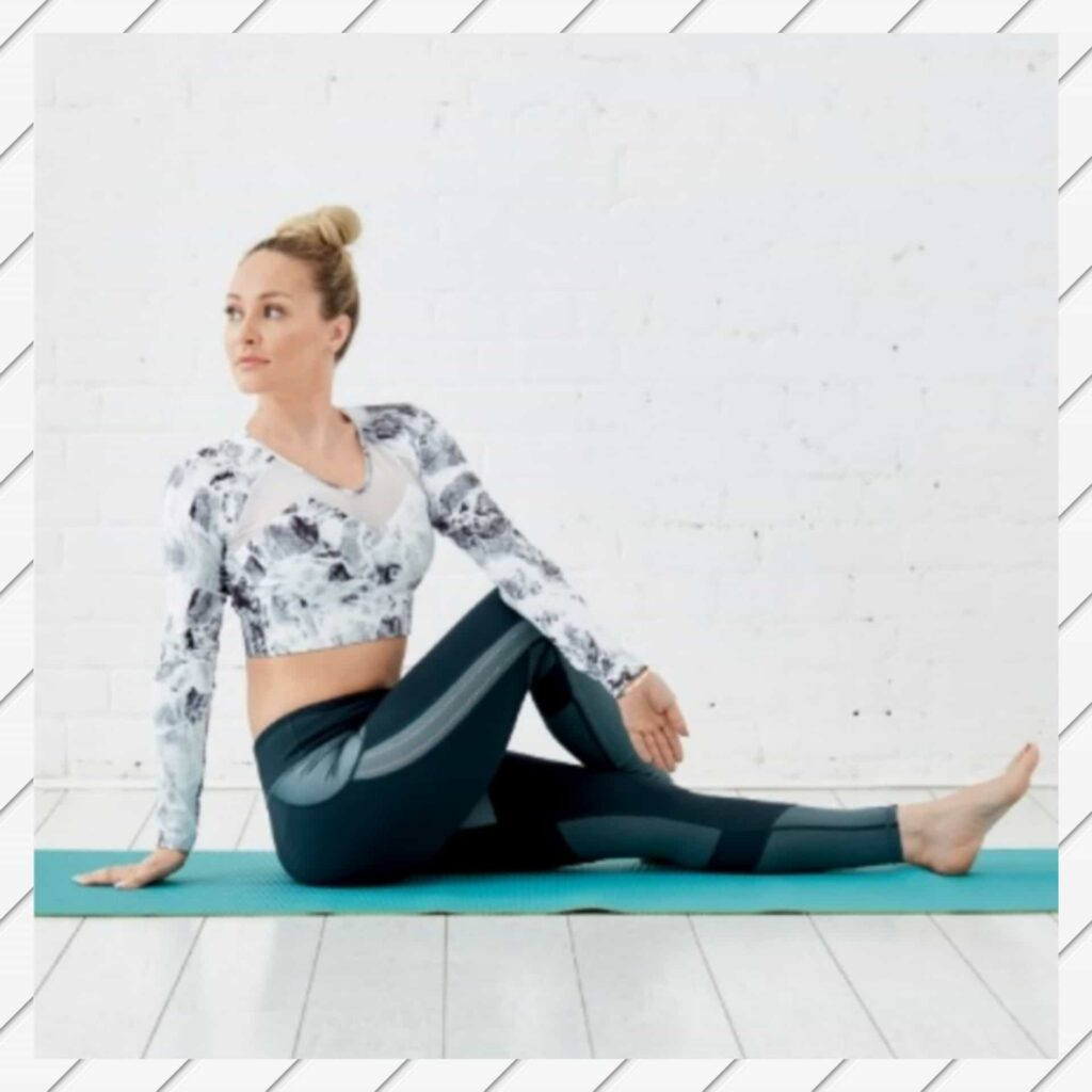 Seated Twist Pose to promote bloating Stomach- FITZABOUT