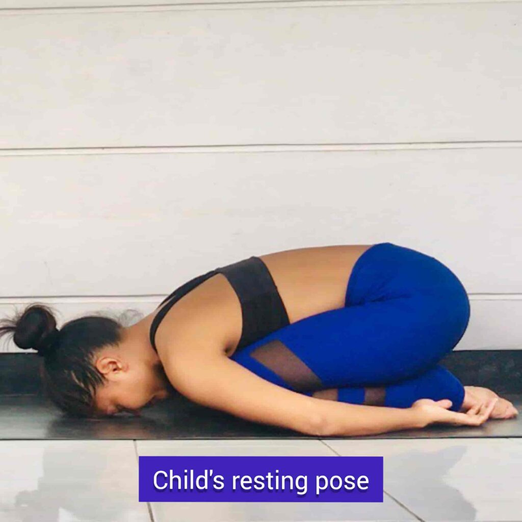 Child's resting pose for stress relief yoga - FITZABOUT
